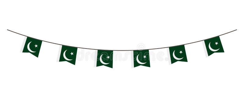 在巴基斯坦旗子的颜色的旗布装饰 诗歌选,在一条绳索的信号旗党的,狂欢节,节日,庆祝 对Nationa 向量例证