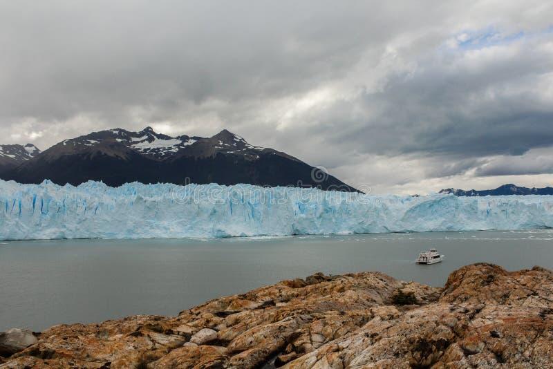 在巴塔哥尼亚阿根廷的冰川视图 免版税库存图片