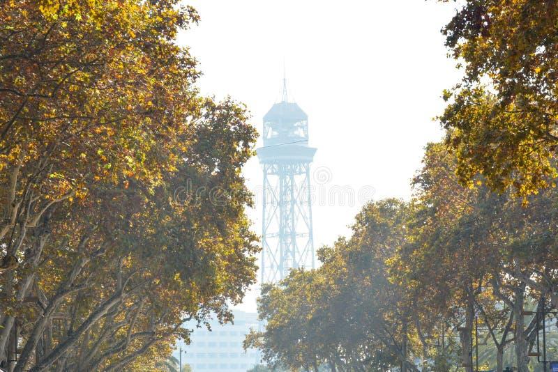 在巴塞罗那西班牙的历史市中心的鸟瞰图 库存照片
