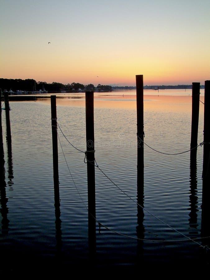 在巴拿马市佛罗里达多沼泽的支流的日出 库存图片