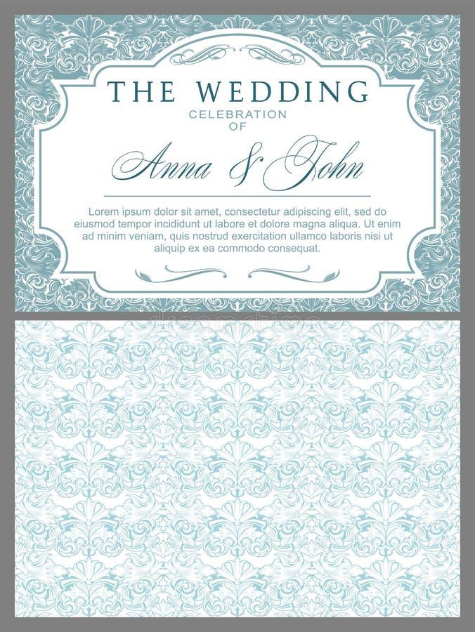 在巴洛克式的样式的婚礼邀请 皇族释放例证