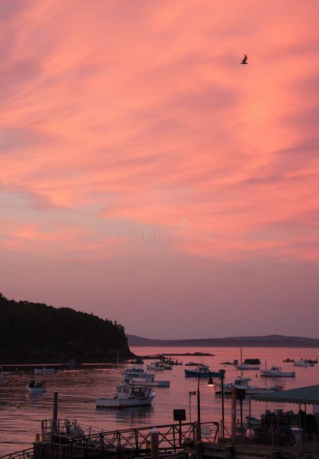 在巴港,缅因的日落天空 免版税库存图片