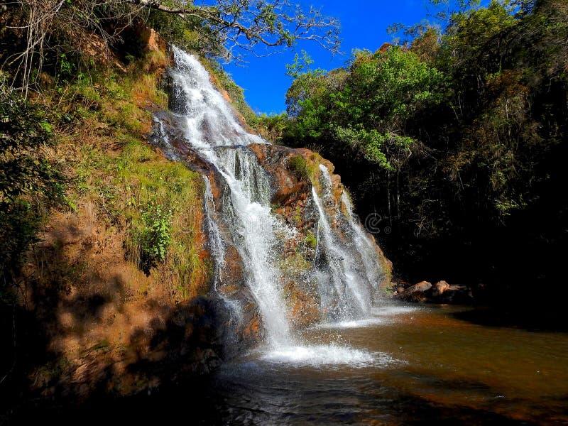 在巴西人Cerrado的Amazin瀑布 库存照片