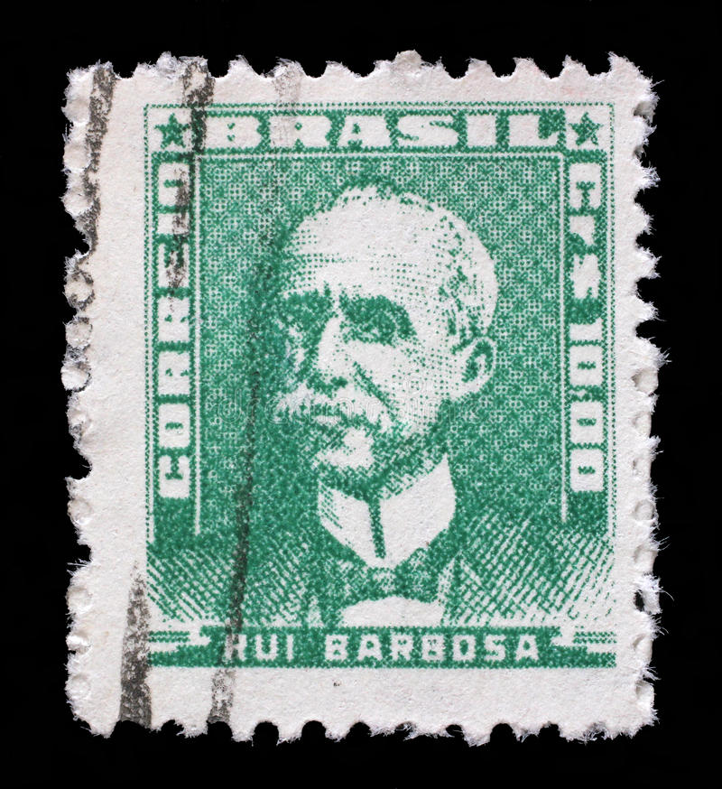 在巴西打印的邮票, Ruy巴尔博萨展示画象  库存照片
