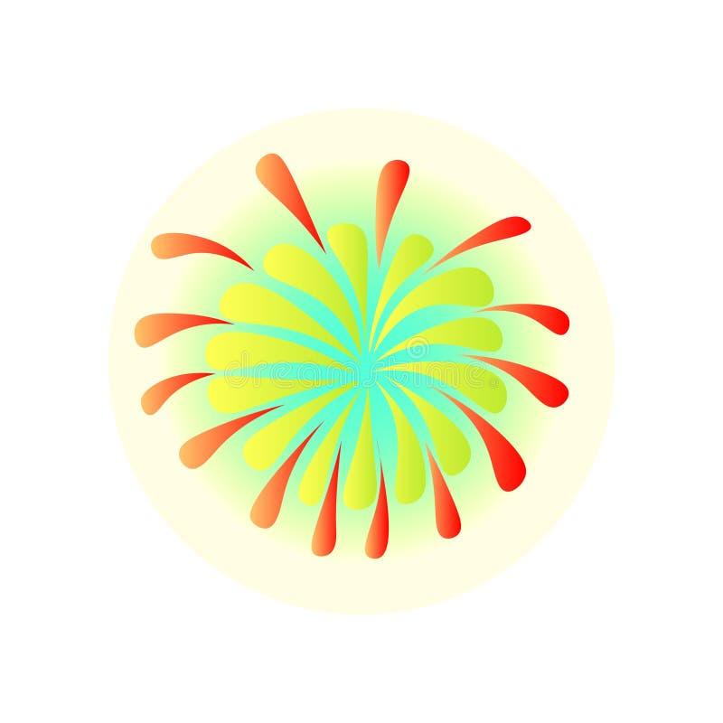 在巴西节日狂欢节的五颜六色的烟花在夜空 向量例证