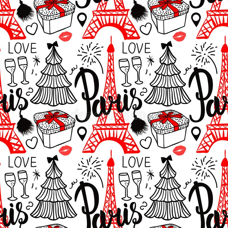 在巴黎和埃菲尔铁塔上写字 无缝的样式圣诞快乐和新年快乐时尚剪影礼物盒,树和 库存例证
