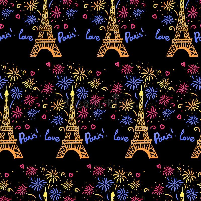 在巴黎无缝的样式的五颜六色的新年 传染媒介例证与致敬的墨水埃菲尔铁塔 库存例证