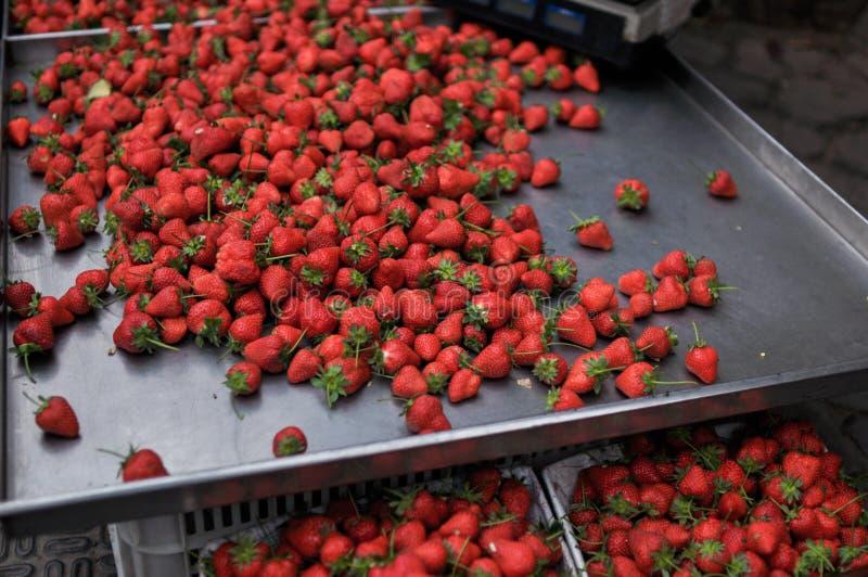 在市场上的草莓 库存照片