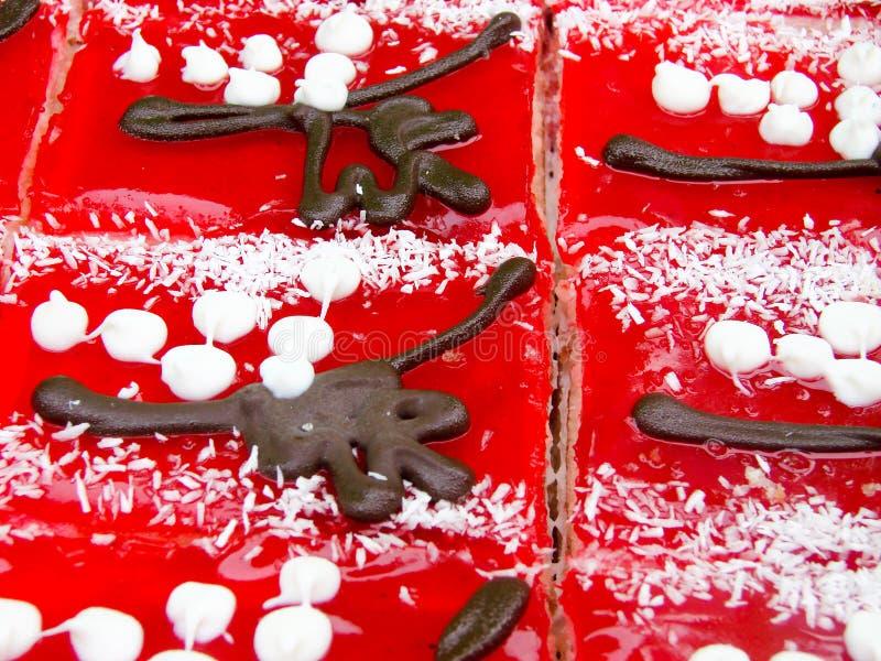 在市场关闭的果冻蛋糕 顶视图 选择聚焦 免版税库存照片