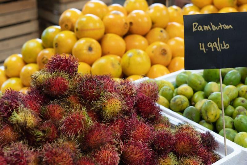 在市场的五颜六色的果子 库存图片