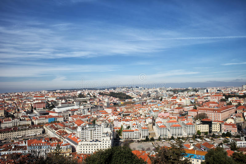在市的看法里斯本在葡萄牙 免版税库存图片