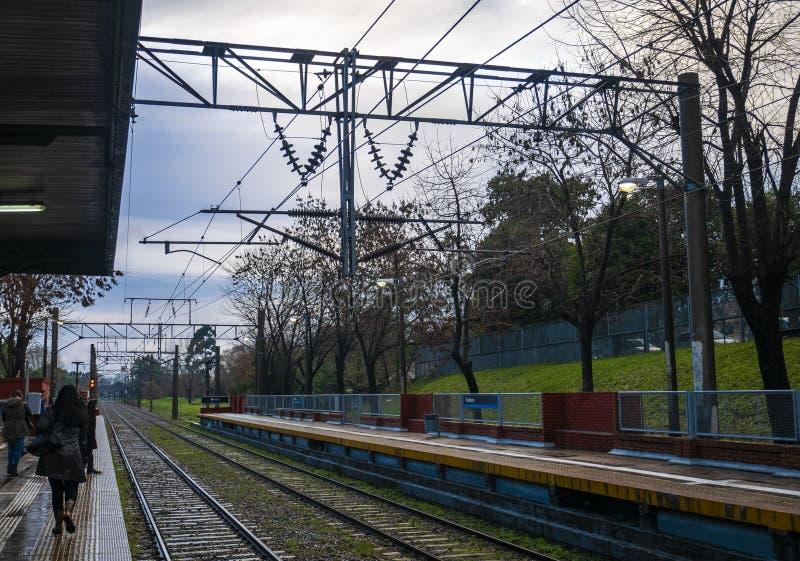 在布宜诺斯艾利斯,阿根廷省的火车站  免版税库存照片