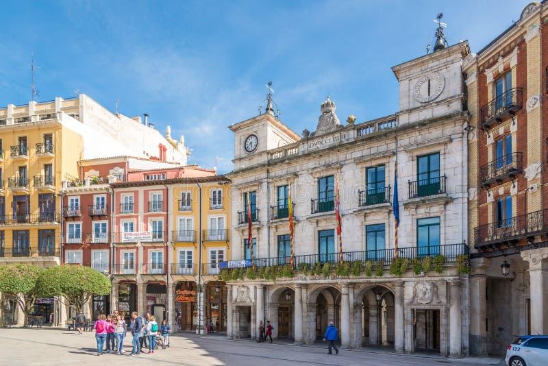 在布尔戈斯城镇厅的看法在西班牙 免版税库存图片
