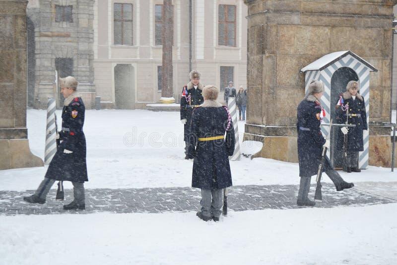 在布拉格城堡的仪仗队 库存图片