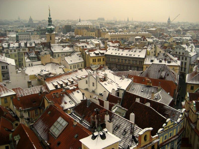 在布拉格屋顶,检查共和国的一个看法 免版税库存图片
