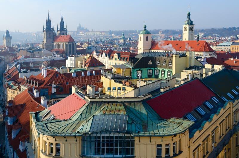 在布拉格斯塔雷梅斯托,捷克的历史中心的美好的顶视图 库存图片