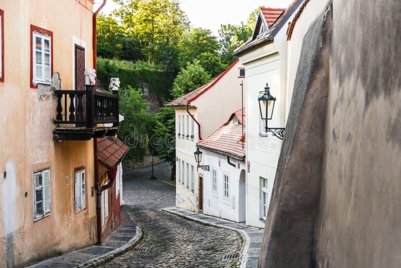 在布拉格& x28的精密老街道; Praha& x29; 免版税库存图片