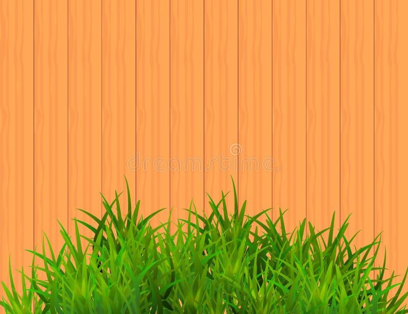 在布朗木背景的绿草与文本的空间 库存例证