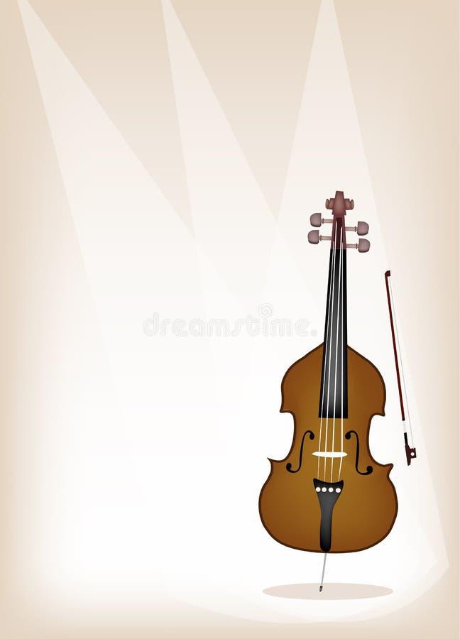 在布朗舞台背景的一个美丽的低音提琴 皇族释放例证