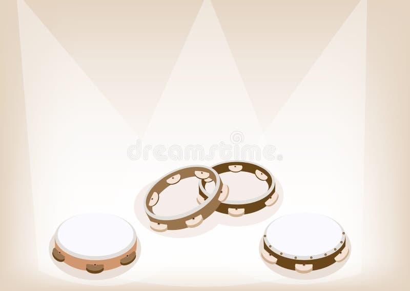 在布朗阶段Backgrou的美丽的三小手鼓 库存例证