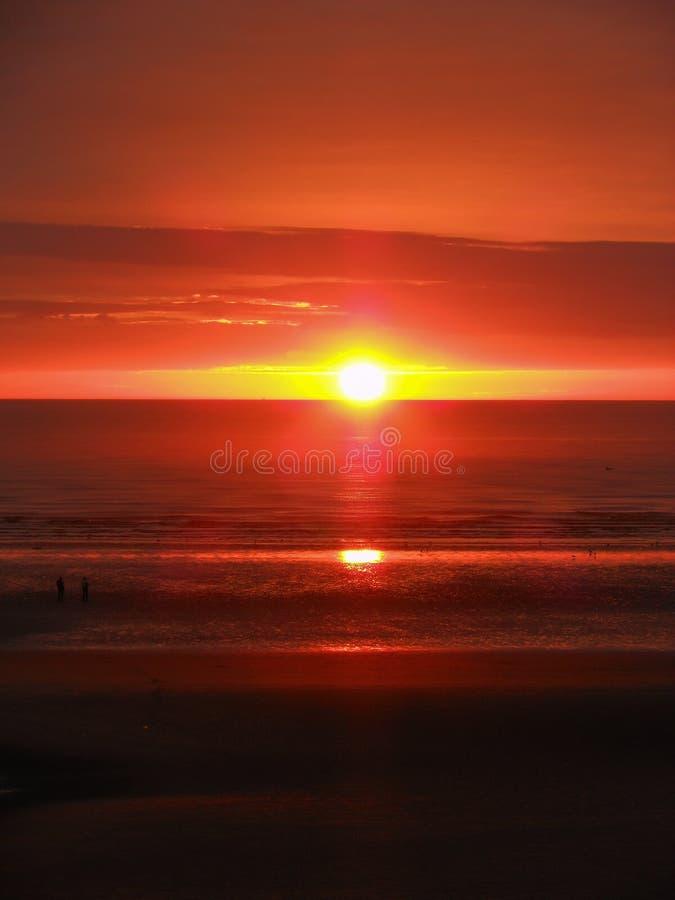 在布莱克浦海滩的日落 免版税图库摄影