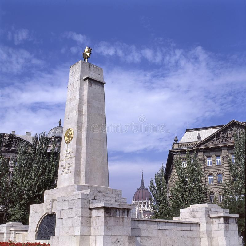 在布达佩斯自由正方形的苏联纪念碑  库存图片