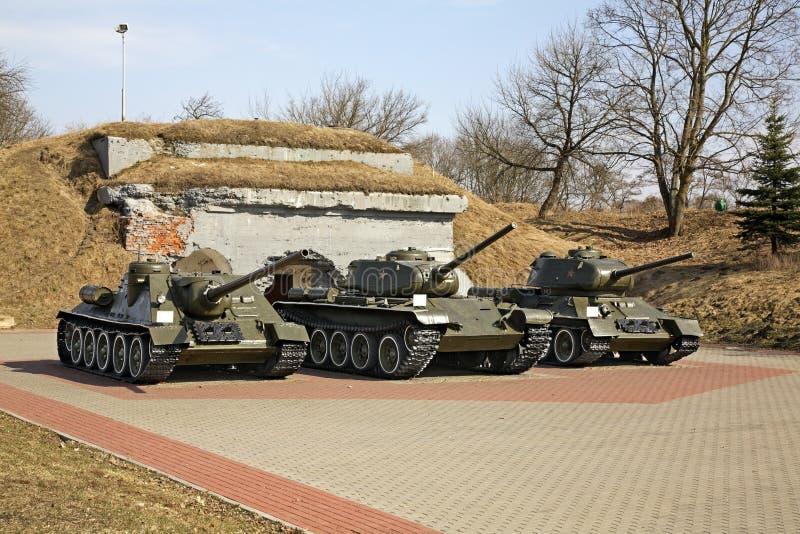 在布雷斯特Litovsk fortres的坦克 砌砖工 图库摄影
