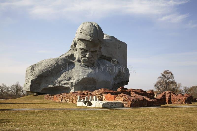 在布雷斯特Litovsk fortres的纪念碑 砌砖工 图库摄影