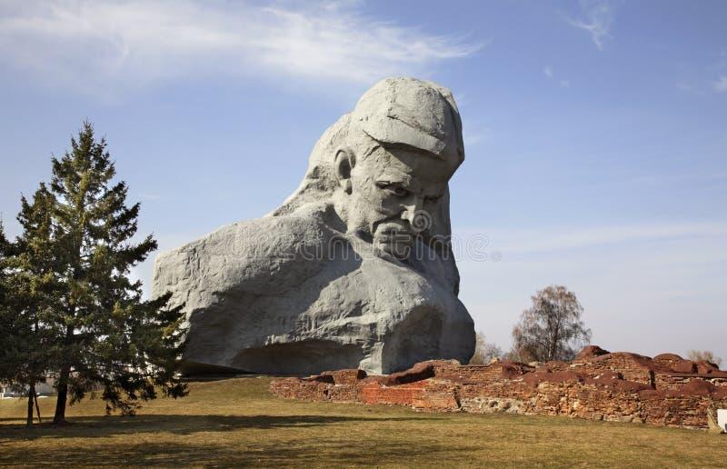 在布雷斯特Litovsk fortres的纪念碑 砌砖工 库存图片