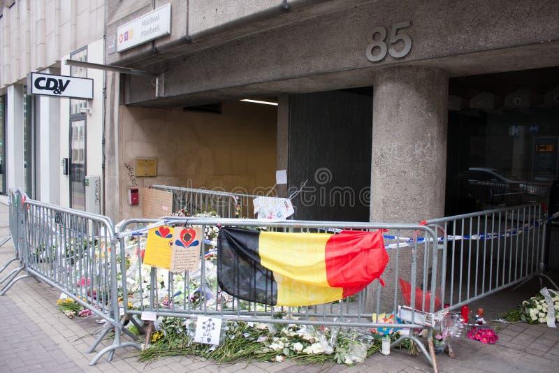 在布鲁塞尔的Maelbeek恐怖袭击发生2016年3月22日的地铁车站的入口 免版税库存照片