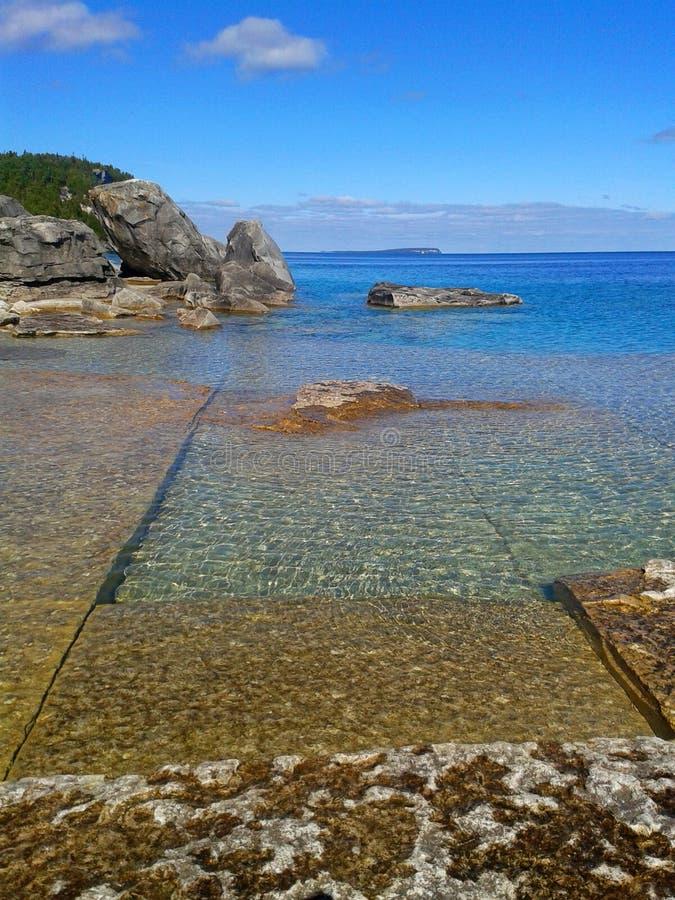 在布鲁斯半岛的绿松石水 库存照片