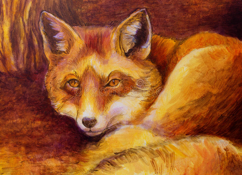 在帆布的单色狐狸绘画 库存例证