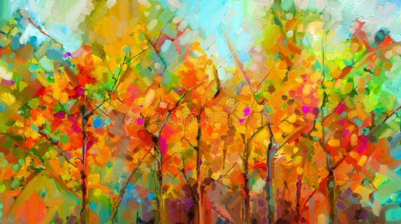 在帆布的抽象五颜六色的油画风景 春天,夏季自然背景 库存例证