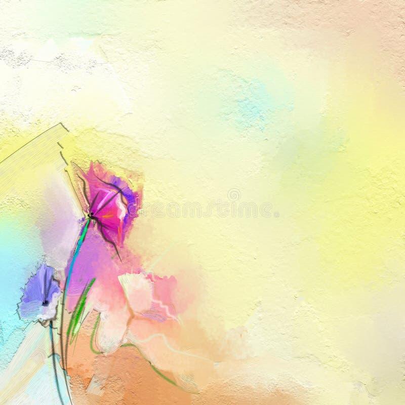 在帆布的抽象五颜六色的油画 雏菊花的半抽象图象,在黄色颜色背景中 皇族释放例证