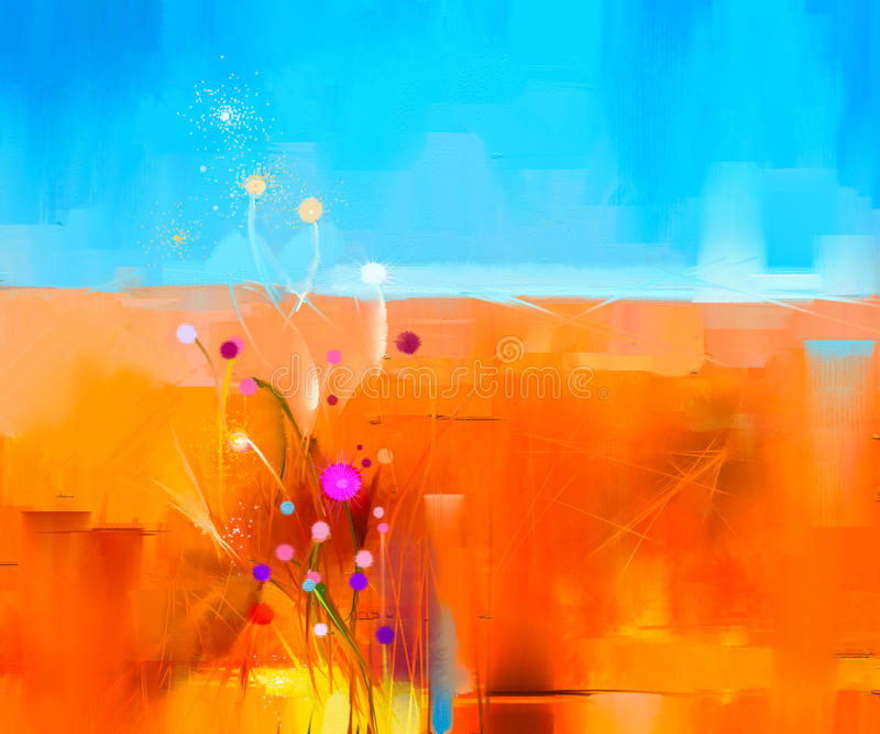 在帆布的抽象五颜六色的油画风景 向量例证