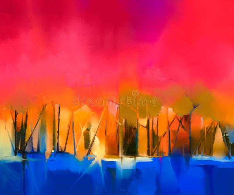 在帆布的抽象五颜六色的油画风景 皇族释放例证