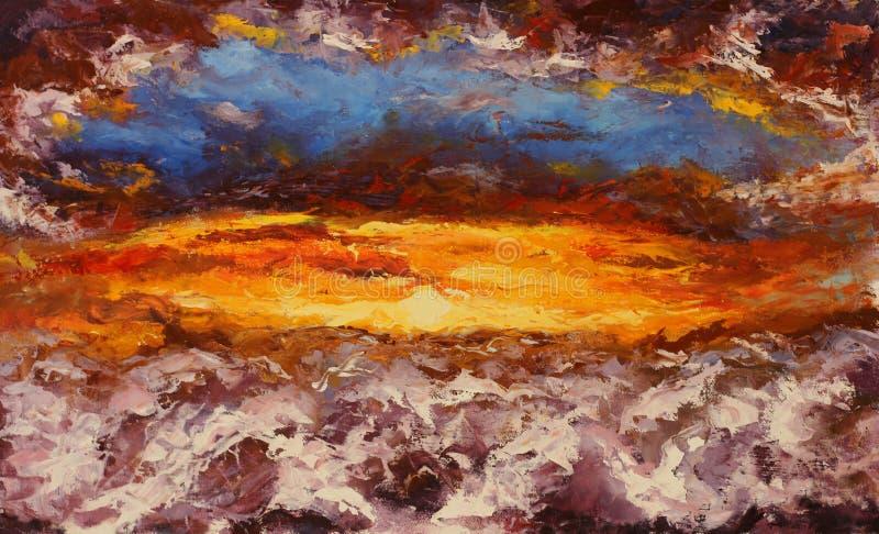 绘在帆布的抽象红色云彩 库存例证