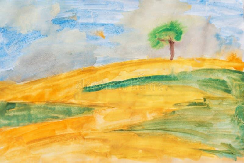 在帆布的水彩 黄色领域、绿草和蓝天 库存图片