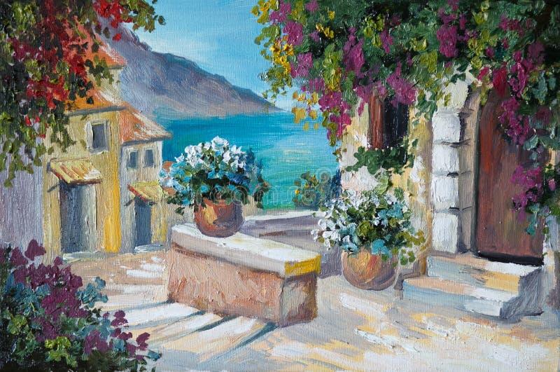 在帆布的油画-美丽的房子和台阶在海附近 向量例证