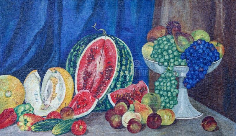 在帆布的绘的油 静物画用西瓜、水果和蔬菜 皇族释放例证