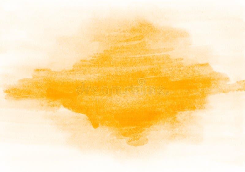 在帆布的美丽的橙色油漆斑点 适用于设计师 免版税库存照片