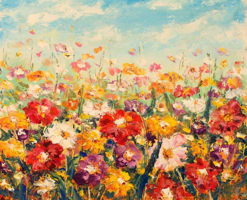 在帆布的美丽的领域花 领域温暖的花 impasto 向量例证