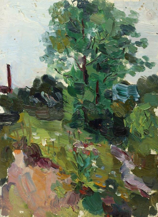在帆布的美好的原始的油画风景 免版税库存照片