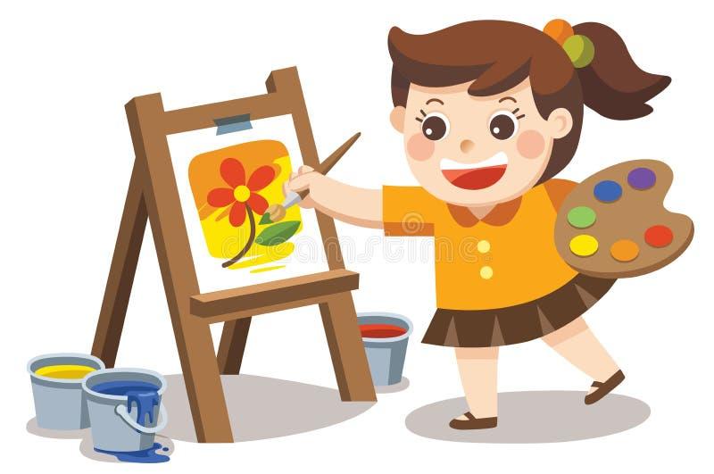 在帆布的逗人喜爱的艺术家女孩绘画花 向量例证