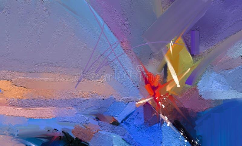 在帆布纹理的五颜六色的油画 海景绘画的半抽象图象有阳光背景 向量例证