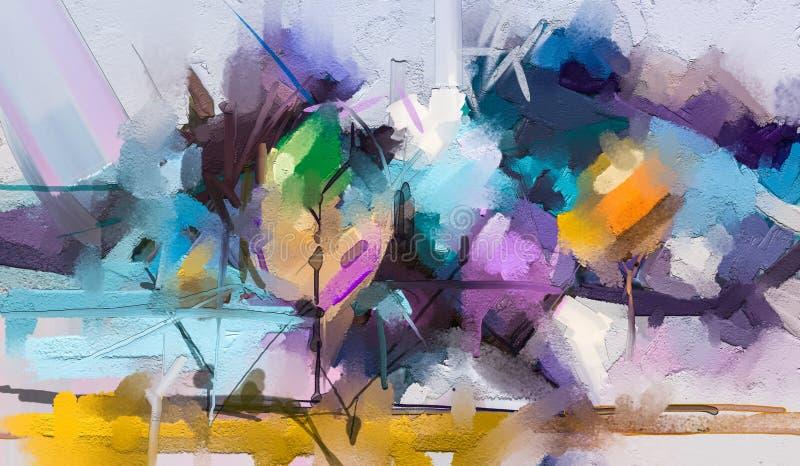 在帆布纹理的抽象五颜六色的油画 风景、树和花半抽象油漆  现代美术油画 皇族释放例证