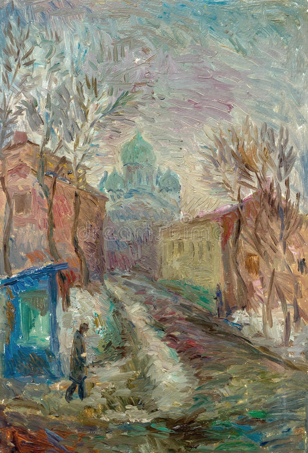 在帆布街道美好的原始的油画  免版税库存照片