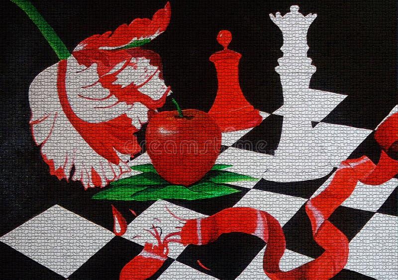 在帆布被创造的背景设计的暮色绘画 免版税库存图片