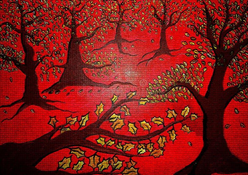 在帆布被创造的背景设计的红色森林摘要绘画 库存图片
