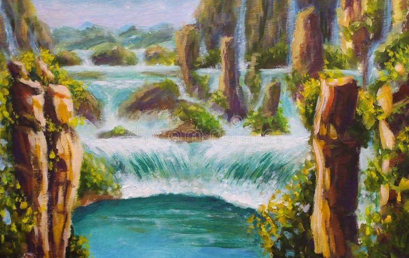 在帆布高黄色山在中国,美丽的绿松石瀑布,美好的自然,梦想,山的原始的油画 向量例证